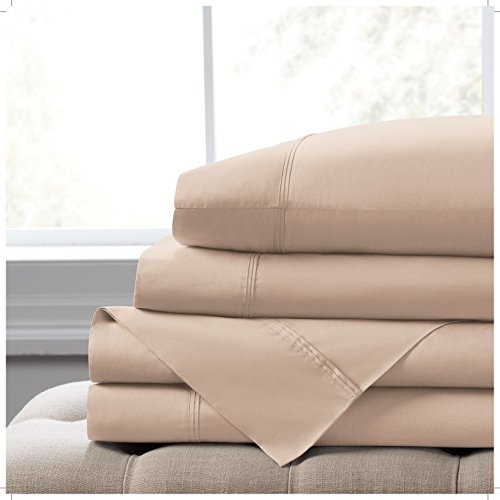 "Elizabeth Arden Light-Weight 100% Long-Staple Cotton Percale 4-Piece Sheet Set - Natural Pure 300 Thread Count – Crisp & Cool – Deep Fitted Pocket Fits Mattress up to 18"" - Queen - Taupe"