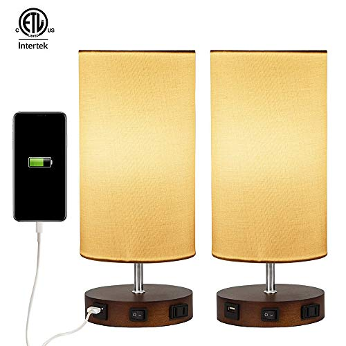 (2 x Modern Table Lamp,USB Side Table Lamp Set,Solid Wood Nightstand Lamps with White Linen Shades,Ambient Light,USB Charging Port & Power Socket Perfect for Bedroom or)