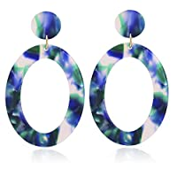 Mottled Circle Hoop Acrylic Resin Dangle Statement Earrings for Women