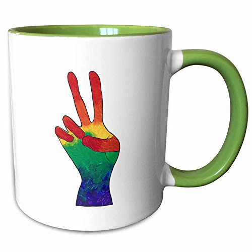3dRose CherylsArt Signs Peace - Painting of an abstract hand peace sign in rainbow colors - 15oz Two-Tone Green Mug (mug_194497_12)