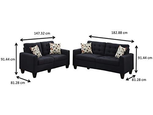 Poundex F6903 Bobkona Windsor Linen-Like 2 Piece Sofa and Loveseat Set, Black