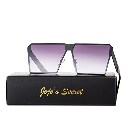 JOJO'S SECRET Oversized Square Sunglasses Metal Frame Flat Top Sunglasses JS009 (Black/Gradient Grey, - Glasses 2017 Fashion