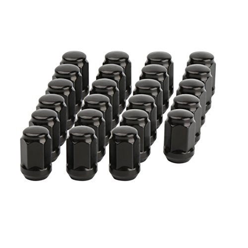 1/2-20 Black Wheel Lug Nuts, Dynofit 23pcs 1/2x20 Hex 60 Degree Steel Conical Lugnuts for Aftermarket Tuner Durango Journey Viper XJ KJ KK CJ Commander XK ZJ WJ WK Liberty TJ JK Explorer -
