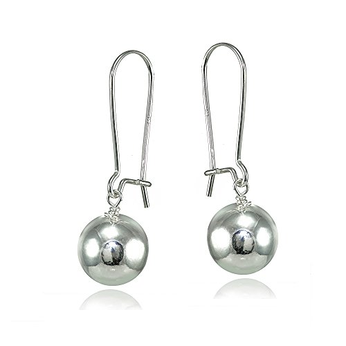 - Sterling Silver 8mm Polished Ball Bead Drop Earrings