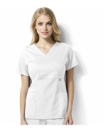 WonderWink Women's Plus Size Next Elizabeth Mock Wrap Scrub Top, White, 3X-Large
