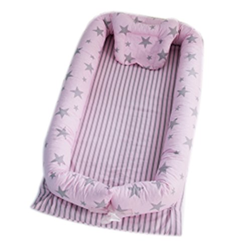 JHion Portable Bed Bassinet Newborn Lounger with 100% Cotton Baby Hammock for Crib - Breathable & Hypoallergenic,Pink Star