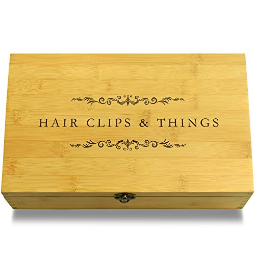 Cookbook People Hair Clips & Scrunchies Cosmetics Multikeep Box - Decorative Sustainable Bamboo Adjustable Organizer (Keepsake Money Clip)