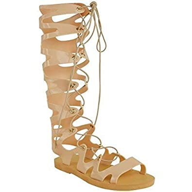 923194261ea2a Fashion Thirsty Womens Ladies Knee High Lace Up Jelly Sandals Gladiator  Flat Summer Shoes Size