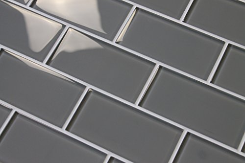 10 Square Feet - Pebble Gray 3'' x 6'' Glass Subway Tiles by Rocky Point Tile