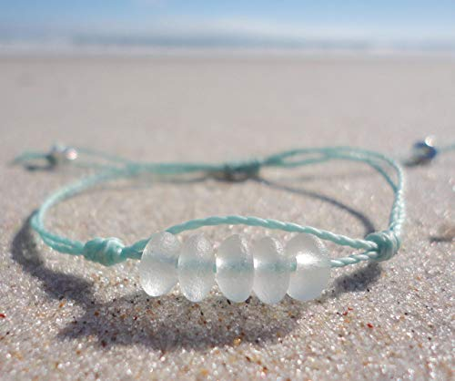 (Sea Glass Bead Bracelet-Made from Recycled Glass Beads - Adjustable Waterproof Wax Coated Bangle or Anklet-Aqua Thread-Handcrafted Bracelet with White Beads )