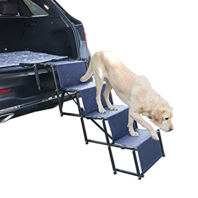 Heeyoo Upgraded Nonslip Car Dog Steps, Portable Metal Fram Large Dog Stairs for High Beds, Trucks, Cars and SUV, Lightweight Folding Pet Ladder Ramp with Wide Steps can Support 150 Lbs Large Dogs