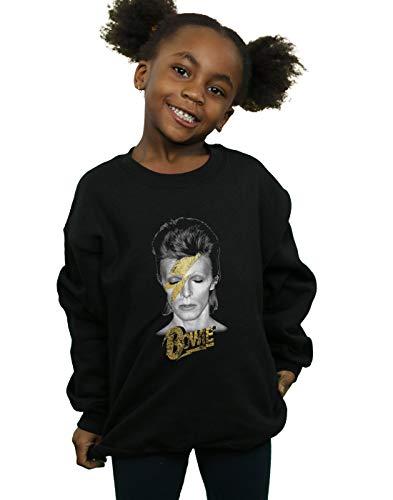 David Bowie Girls Aladdin Sane Gold Bolt Sweatshirt Black 9-11 Years by Absolute Cult