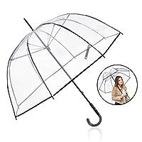 "Rainbrace Big Arc 52"" Clear Bubble Umbrella for Wedding, Bulk Large Transparent Clear Umbrella Dome for Women Adult"