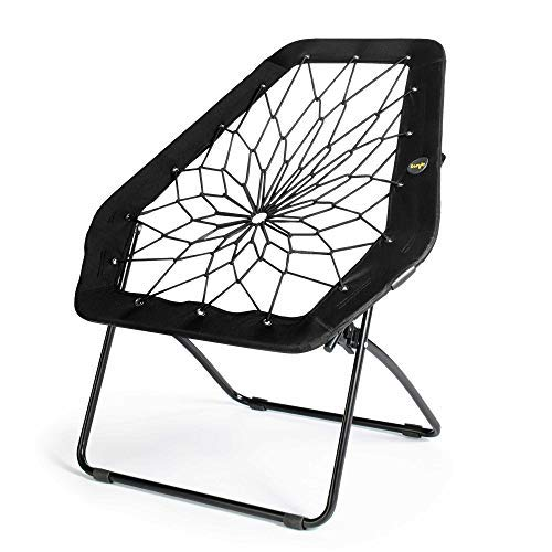 Bunjo Chair Bungee Hexagon Chair, Black – Great for College, Teens, Kids