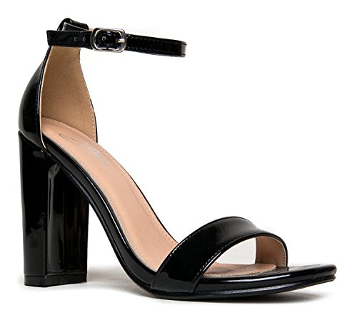 - Strappy Chunky Block High Heel, Black Patent, 6.5 B(M) US