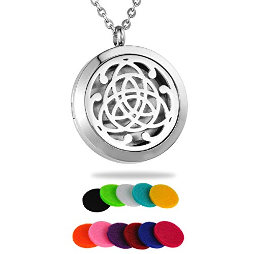 HooAMI Aromatherapy Essential Oil Diffuser Necklace - Stainless Steel Celtic Knot Round Locket Pendant (Celtic Knot 1)