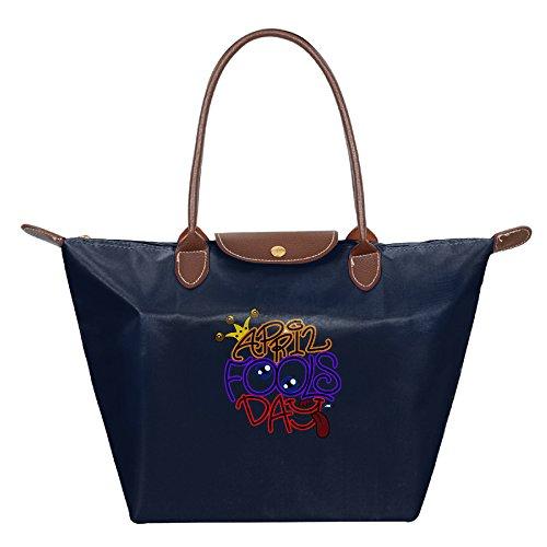 Ladies April Fool Large Tote Bags,Multifunction Waterproof Shoulder Handbags With (Halloween Space Miami)