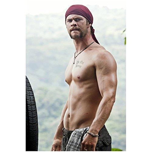 Chris Hemsworth 8x10 Photo Thor/Avengers Shirtless Chest Tattoo Maroon Do Rag kn Photograph