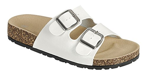 Cambridge Select Donna Open Toe 2 Cinturino Con Fibbia Slip-on Flat Sandal Slide Bianco Pu