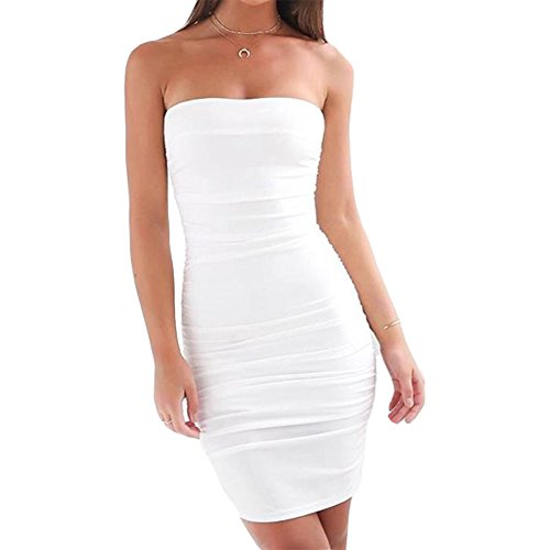 White Cotton Strapless Dress (Antopmen Women Sexy Boat Neck Strapless Mini Dress (Medium, White))
