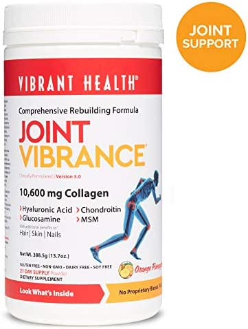 Vibrant Health, Joint Vibrance, Comprehensive Rebuilding Formula with Collagen, Chondroitin, Glucosamine and MSM, Non-GMO, Gluten Free, 21 servings