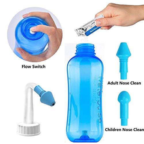 Neti Pot Sinus Rinse Nose Cleaner Nasal Irrigation System - HONGJING 500ml Nasal Wash Bottle for Adult Kid Nose Allergic Rhinitis Sinusitis Cold Flu Nursing