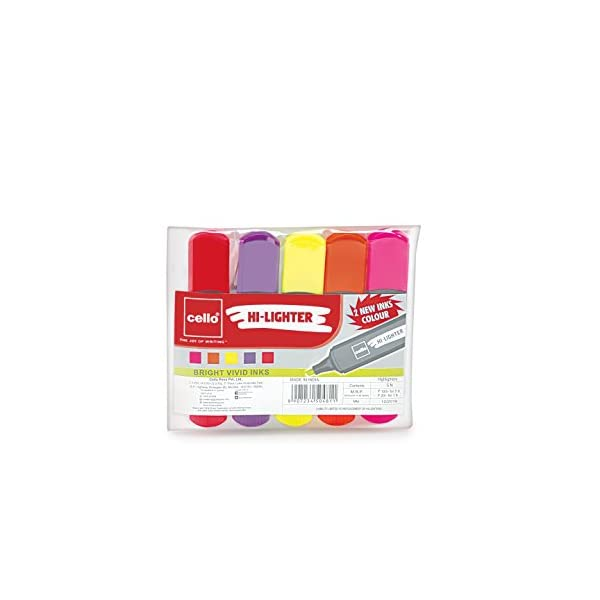 Cello Hi-lighter (Pack of 5, Vivid Colors - Yellow, Pink, Peach, Orange and Purple) | Easily Applicable Highlighters | School & Office Stationery 4