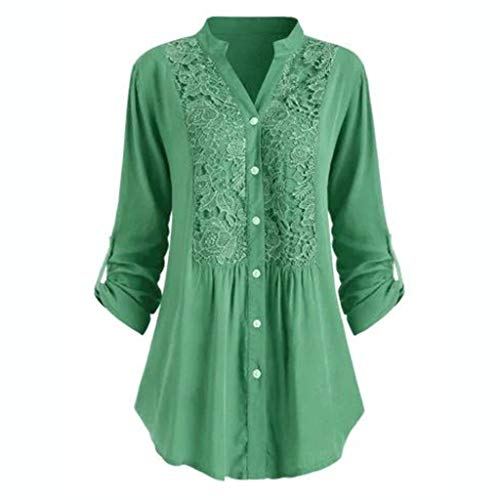 2019 Women Button Shirts Elegant Large Size Button Lace V Neck Long Sleeve Flare Tunic Tops S-5XL Ladies Blouse Green