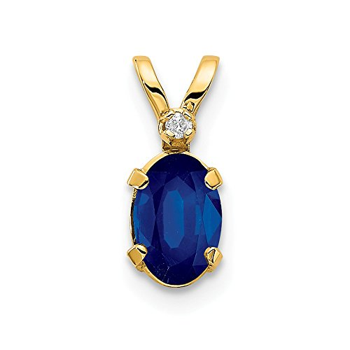 14k Yellow Gold Diamond Sapphire Birthstone Pendant Charm Necklace September Oval Fine Jewelry Gifts For Women For Her
