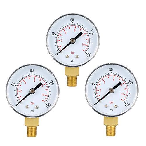Fuel Pressure Gauge Range - uxcell Bottom Mount Pressure Gauge, 0-160 psi/bar Dual Scale, 2