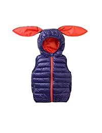ALLAIBB Little Kid Boy Girl Vest Down Cotton Jacket Outerwear Snowsuit Bunny Ears