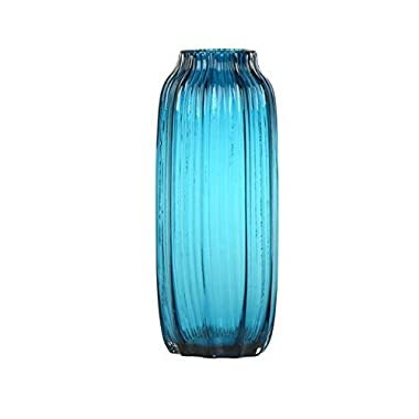 CASAMOTION Ribbed Hand Blown Art Glass Vase, Gift Boxed, Blue, 12 Inch