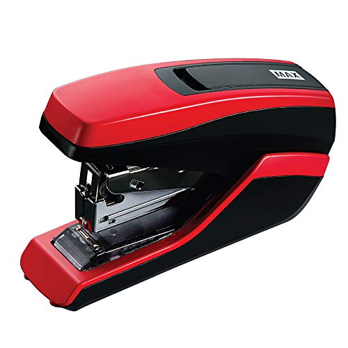 MAX HD-55FL Powerful and Light Effort 35 Sheet Flat Clinch Stapler with a Comfortable Soft-Touch Handle (RED)