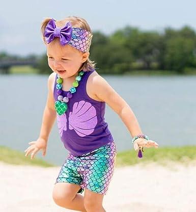 Amazon.com: Camiseta de sirena para niñas, camiseta de ...