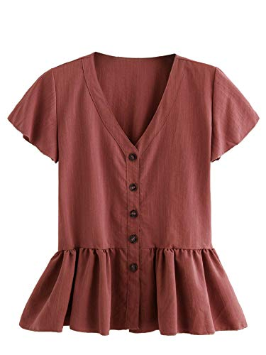 (Verdusa Women's Casual V Neck Single Breasted Ruffle Hem Peplum Blouse Tops Brick-red S)