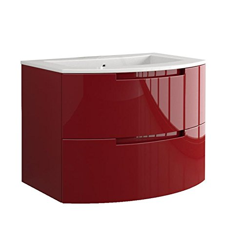 LaToscana OA29OPT1 Oasi 29 inch Modern Bathroom Vanity with 2 Slow Close Drawers and Tekorlux Sink Top With Finish: Glossy Red by La Toscana