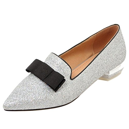 SJJH Court Shoes with Low Heel and Pointed Toe Casual Shoes with Bling Materail Silver