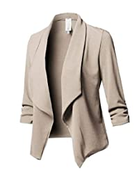 SELX Women Casual Slim Fit Solid Long Sleeve Open Front Blazer Jacket