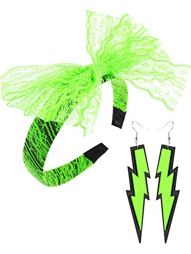 Neon Green 80s Lightning Earrings with Hair Band