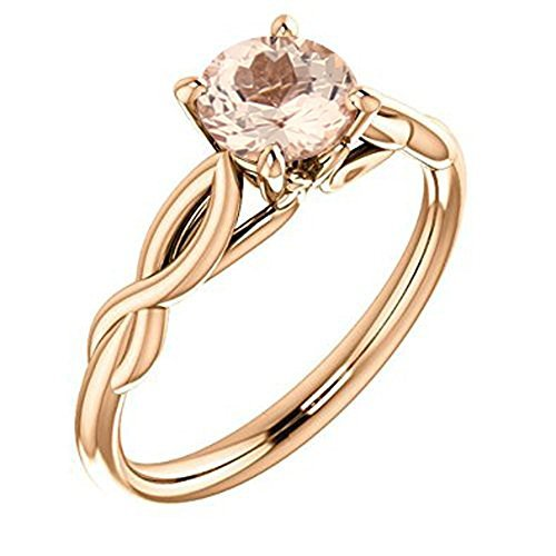 Natural Moragnite Infinty Style Solitaire Engagement Ring in 10K Rose Gold (7, 0.70)