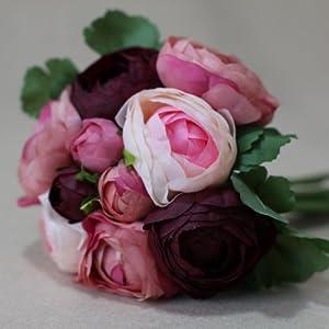 "Lily Garden 10.5"" Silk Camellia Bouquet Wedding Decor Flowers (Purple) 96"