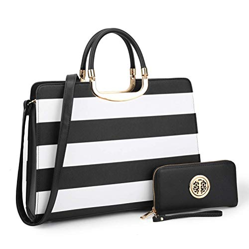 (Dasein Designer Purse Stripes Satchel Handbag PU Leather Purse Top Handle Handbags (XL2828 stripe 2PCs- Black/White))