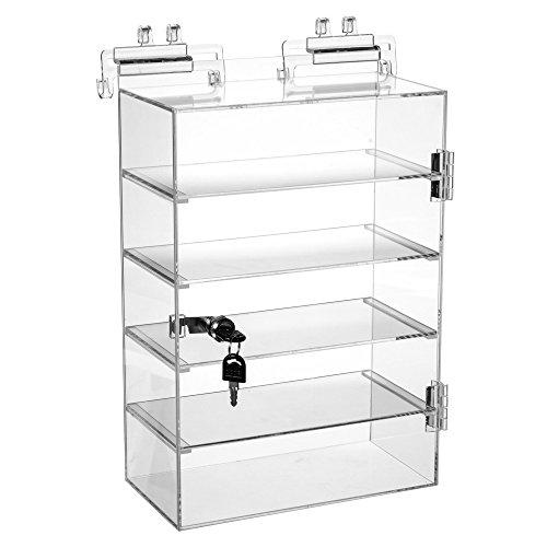 Retails Acrylic 5 shelves Showcase with Lock 10 1/2'' W x 5 1/2'' D x 15'' H by 5 Shelves Show case