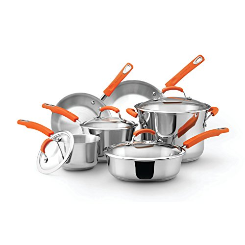 Rachael Ray Stainless Steel II 10-Piece Cookware Set, Orange by Rachael Ray