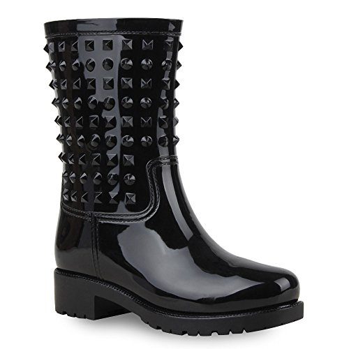 Rockige Damen Stiefeletten Gummistiefel Profilsohle Wasserdichte Boots Stiefel Gumistiefeletten Lack Damenschuhe Nieten Flandell Schwarz