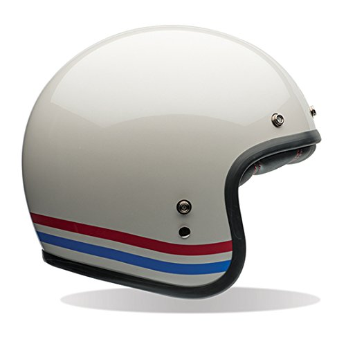 Bell Custom 500 Unisex-Adult Open face Street Helmet (Stripes Pearl White, Large) (D.O.T.-Certified) by Bell