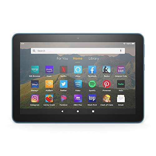 """Certified Refurbished Fire HD 8 tablet, 8"""" HD display, 32 GB, designed for portable entertainment, Twilight Blue"""