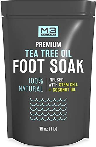 M3 Naturals Tea Tree Oil Foot Soak Infused with Coconut Oil and Stem Cell Epsom Salt Fights Toenail Fungus Athletes Foot Stubborn Foot Odor Scent Fungal Softens Calluses and Soothes -