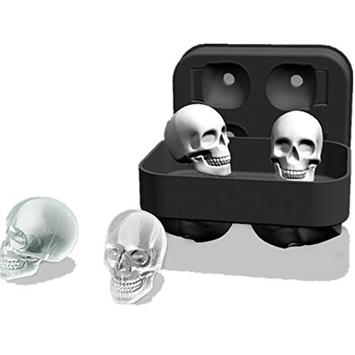 Silicone Skull Ice Molds Ice Cube Maker Whiskey Cocktails Halloween Party Spooky Fun Bar Tool (H02) -