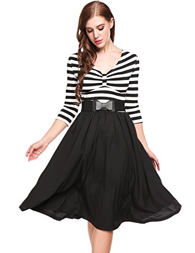 ACEVOG Women's Retro V-Neck 3/4 Sleeve Vintage Casual Striped Pleated Swing Dress with Belt